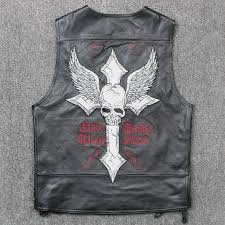 men embroidery skull pattern leather vest genuine leather cowskin sleeveless leather jackets punk motorcyle waistcoat short slim