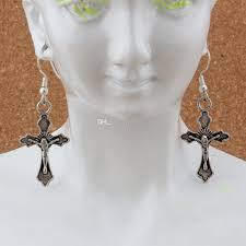Großhandel Jesus Christus Kreuz Ohrringe Silber Fisch Ohr Haken Antik Silber Kronleuchter Schmuck 175x49mm A 267e Von Bead118 1768 Auf