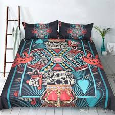 3d skull king bedding set blue red duvet quilt cover pillowcase single twin queen king size soft polyester bedclothes new duvet covers down