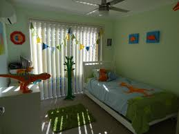 Charming Kid Room Design Featuring Orange Wall Paint Themes Ideas  Interesting Dinosaur Theme Bedroom Single Bed ...