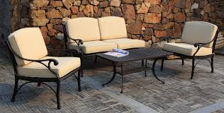 black iron patio furniture vintage style four piece comfortable sofa chair metal table stained cozy cream