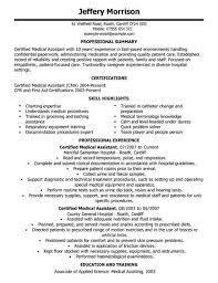 Medical Assistant Cv Template Cv Samples Examples