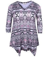 Zerdocean Size Chart Zerdocean Womens Plus Size Printed 3 4 Sleeve Tunic Top