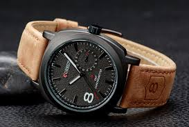 curren leather band mens watch