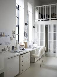 charming white office design. charming white home office design ideas with desk and drawers completed by shag dining chair also wall lamps mounted on r