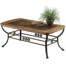 hilale lakeview rectangle slate top coffee table in brown