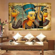 3 piece new wall art abstract modern african ancient egyptian image portrait canvas oil painting on