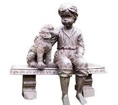 dog garden statue. Boy And Dog On A Bench Garden Statue