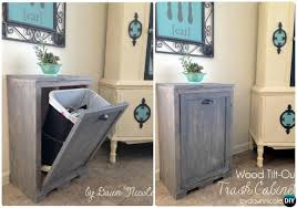 diy wood tilt out trash can cabinet smart ways to hide your trash can