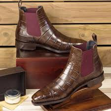 A brown suede chelsea boot is a staple item of footwear for any gentleman that likes to look smart, sophisticated and charmingly understated. Handmade Mens Brown Crocodile Leather Chelsea Boots Men Brown Chelsea Boot Rangoli Collection Online Store Powered By Storenvy