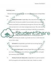 the leadership secret of genghis khan essay example topics and text