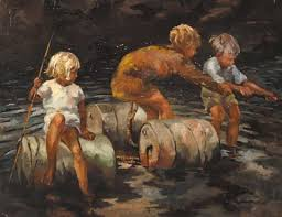 River scene with children and oil-drums by Patricia Griffith on artnet