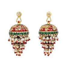 chandelier earrings designed as a gold cupola decorated in a foliate pattern in red and green enamel with rose cut diamond accents suspending a tiered