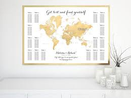 Custom Printable Wedding Seating Chart Featuring The World Map In Gold Foil