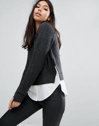 noisy may knit and shirt combo jumper dark grey women jumpers noisy may macy leather jacket fantastic savings