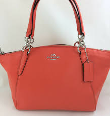 coach f36675 small kelsey satchel in pebble leather bright orange