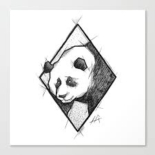 Panda Handmade Drawing Made In Pencil Charcoal And Ink Tattoo Sketch Tattoo Flash Sketch Canvas Print