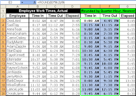 Timecard Rounding Chart Toms Tutorials For Excel Rounding Times Of Day By The