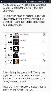 Billboard Hit Chart 2012 Got7 Is The First K Pop Act To Hit The Billboard Artist 100
