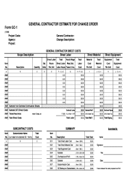 Contractor Estimate Form General Contractor Bid Forms Fill Out And Sign Printable
