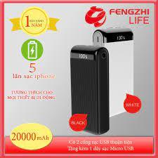 PIN DỰ PHÒNG FENGZHI LIFE J353 20000mah POLYMER LITHIUM - 2 CỔNG USB - 1  MICRO - 1 TYPE-C