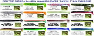 Yamamoto Senko Color Chart Gary Yamamoto Crappie Panfish C31 Slim Swim Senko 3 Inch Fishing Lure 10 Pack
