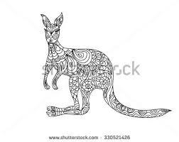 Small Picture Kangaroo Animal Coloring Book Adults Raster Stock Illustration
