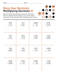 Decimal multiplication worksheets — mental math multiply decimals by powers of ten if the worksheet does not fit the page in the print preview, adjust your margins, header, and. Dizzy Over Decimals Multiplying Decimals 1 Worksheet Education Com