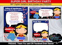 superheroes birthday party invitations wonder woman invitations birthday party supplies invitation digital