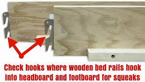 check bed rails for squeaky wooden bed frame