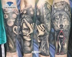 фото татуировки волк с девушкой в стиле реализм татуировки на
