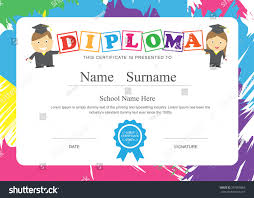 Kids Diploma Preschool Certificate Elementary School Stock Vector