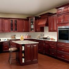 cherry kitchen cabinet with corner glass door wall pantry cabinet also built in wall oven and small kitchen island with bar stools