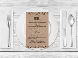 Swirls Templates Kraft Paper Wedding Menu Template Rustic Swirls Printable