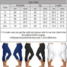 Details About Womens Plus Size Capri Leggings Cropped Stretch Pants Solid Basic Yoga Fitness