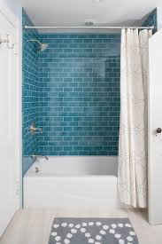 green subway tile with white curtain for small elegant bathroom ideas