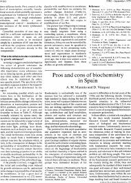 pros and cons of biochemistry in spain trends in biochemical sciences first page of article
