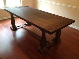 Dining Room:Stunning Restoration Hardware Dining Table With Craem Wall  Paint And Laminted Wooden Flooring