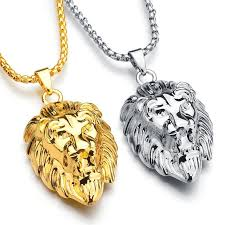 whole frigaro chain hiphop lion head pendant necklace for men women jewelry iced out hip hop silver gold long necklaces photo pendant necklace pendant