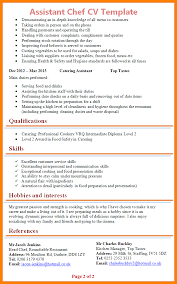 Chef Cv Template 11 Cv Template For Chef Theorynpractice