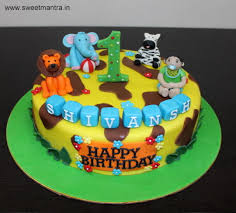 Animal Jungle Theme Customized Designer Fondant Cake For Boys 1st
