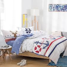 white red and blue stripe and polka dots print nautical themed bedding sets for kids boys girls