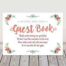 Coral And Green Wedding Guest Book Table Poem Sign Buy 2 Get 1 Free