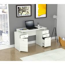 inval laricina white modern straight computer writing desk with locking file drawer free today com 14668326