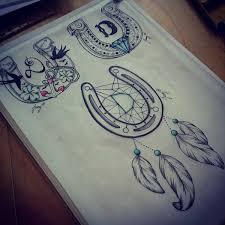 Dream Catcher Tattoo Sketch Drawn horseshoe dreamcatcher Pencil and in color drawn horseshoe 79