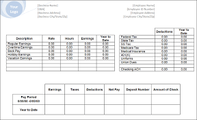 Paycheck Stub Layout Blank Payroll Check Template Under Fontanacountryinn Com