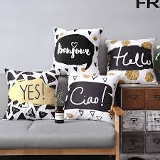pillow case texture. 45x45cm Creative Black White Texture Hand-painted Geometric Cushion Cover  Letters Pillowcase Home Decoration Pillow Case P