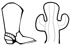 Cowboy Hat Coloring Page Boots Pages Boot Colouring Printable Rain