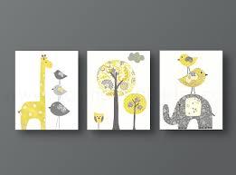 Owl Bedroom Decor Kids Yellow Gray Nursery Art Baby Nursery Decor Kids Wall Art Baby Boy