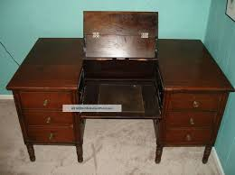 rectangular antique secretary desk with folding top and drawers
